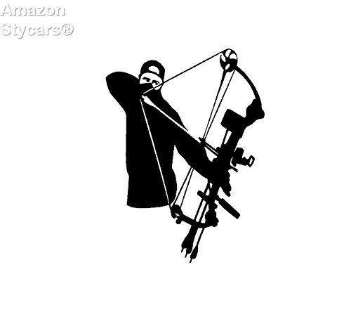 Stycars® Car Stickers, 11.6Cm*15.6Cm Vinyl Decal Bowhunter Archer Bow Arrow Hunt Hunting Car Sticker Black C