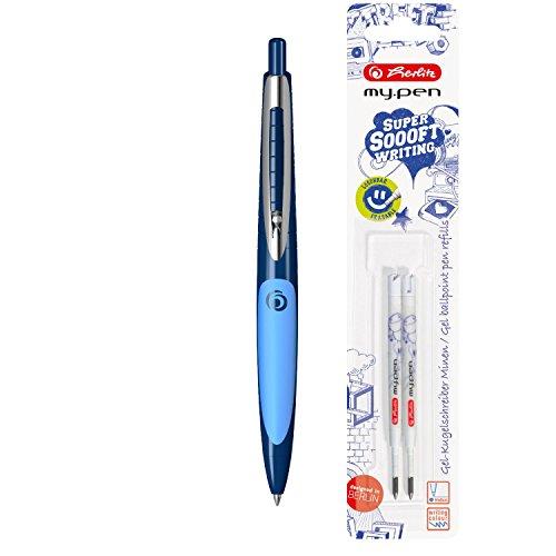 Herlitz 11369907 Gel Kugelschreiber my.pen, dunkel-/hellblau + Ersatzminen