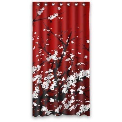 Duschvorhang Japan Oriental Cherry Art Wasserdicht Polyester Stoff Vorhang für die Dusche rot 72x 72 ()