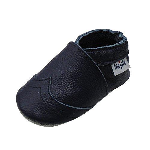 Mejale Weiche Sohle Leder Babyschuhe Lauflernschuhe Krabbelschuhe Kleinkind Kinderschuhe Hausschuhe(Marineblau,24-36 Monate)