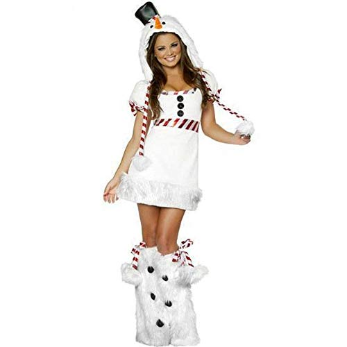 Fashion-Cos1 Halloween Weihnachten Kurzarm Sexy Schneemann Strampler Weiß Sankt Frauen Kostüme Niedlichen Tier Pinguin Kostüm Mit Füße Abdeckung (Niedlichen Frauen Für Tier-kostüm)