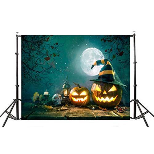 MRULIC Halloween Kulissen Kürbis Gemälde Laterne Hintergrund Tuch für Fotografie Studio (150 * 90cm, C-Mehrfarbig)