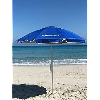 Sombrilla de playa resistente al viento, con estaca de hélice para clavar en la arena y manivela