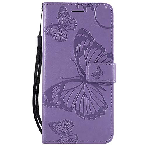 Thoankj Sony Xperia L3 Hülle 2019 PU Leder Flip Notebook Wallet Case Schmetterling geprägt mit Kickstand Kreditkarte Slot Halter TPU Bumper Folio Schutzhülle für Sony Xperia L3 Weihnachten Hard Case