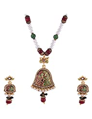 Ganapathy Gems Gold Plated Pandent Set With Red And Green Enamel And Pearl Beads Chain
