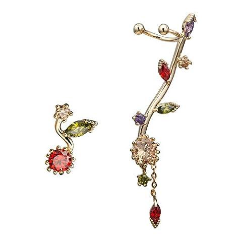 EAR VINES CZ Crystal Sun Flower Left Ear Cuffs Earrings Stud Set (Gold)