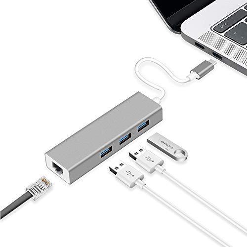 GAYBJ USB-Hub C, Typ-c Rj45 Computer Externe Tablette Telefon Universal-USB3.0,Grau