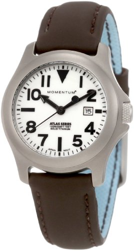 Momentum Ladies 1M-SP01W12C Atlas White Dial Brown Touch Leather Watch