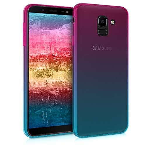 kwmobile Samsung Galaxy J6 Hülle - Handyhülle für Samsung Galaxy J6 - Handy Case in Pink Blau Transparent
