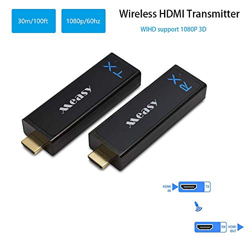 Measy Kabelloser HDMI-Transmitter und -Empfänger HDMI-Extender bis zu 30 m, unterstützt 1080P 3D Video von Laptop PC PSP Xbox Kamera zu Projektor HDTV Monitor Usb Wifi Transmitter