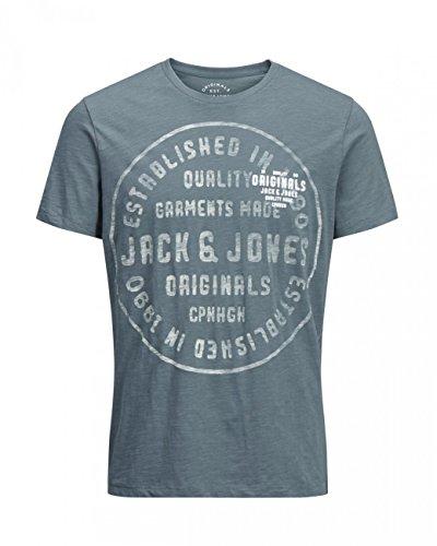 Jack & Jones Herren T-Shirt JORBACK TEE SS CREW NECK Stormy Weather (12128432)