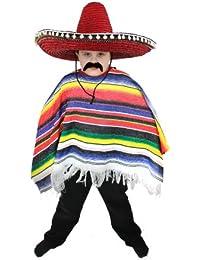 Ilovefancydress Déguisement de mexicain avec poncho multicolore à rayures et franges et grand sombrero rouge à pompons pour enfant