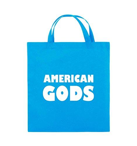 Comedy Bags - AMERICAN GODS - LOGO - Jutebeutel - kurze Henkel - 38x42cm - Farbe: Schwarz / Pink Hellblau / Weiss