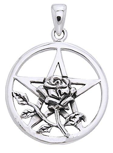 Alterras - Anhänger: Pentagramm mit Rose aus 925-Silber