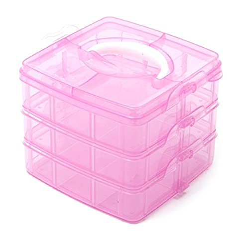 Pink 3 Tier Adjustable 18 Compartment Slot Plastic Craft Storage Box Jewellery Tool Container Small by crafts