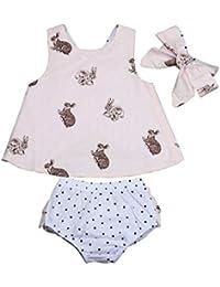 0~36 meses Bebé Niñas Ropa SMARTLADY Camiseta sin mangas y Pantalones cortos + venda