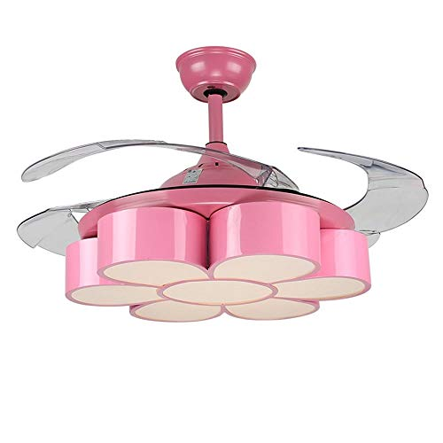 YZPFSD 42 Zoll Moderne rosa stumme Blumen Deckenventilator Lichter Kinderzimmer Schlafzimmer Kindergarten LED dimmbar Kronleuchter mit 4 transparenten Lüfterflügeln und Fernbedienung (Size : 42inch)
