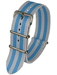 Davis - BNN3BGREY/BLUE-20 - Bracelet de Montre Mixte - Nylon Gris