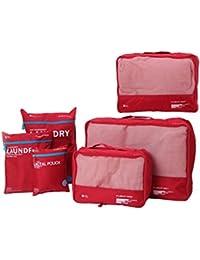 Doublevillages 6pcs Organisateur de bagage de Sac voyage / packing cubes voyage / Cubes De Voyage / Emballage Cubes/ sacoches de rangement pour bagage
