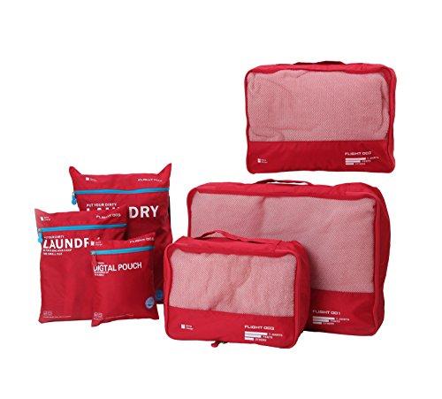 DoubleVillages 6pcs Organisateur de bagage de Sac voyage / packing cubes voyage / Cubes De Voyage / Emballage Cubes/ sacoches de rangement pour bagage/ Sac De Bagages Rangement travel cubes-ROUGE
