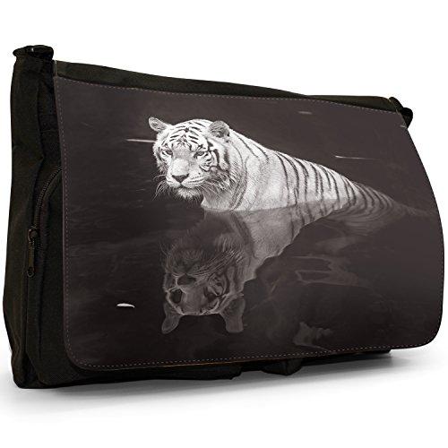 Bianco Tigri–Borsa Tracolla Tela Nera Grande Scuola/Borsa Per Laptop White Tiger With Reflection