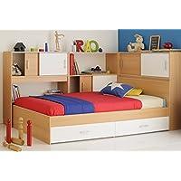 Preisvergleich für Kinderbett 90x200 Stauraumbett weiss Samerbergbuche