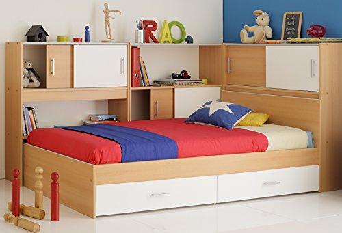 Kinderbett 90x200 Stauraumbett weiss Samerbergbuche