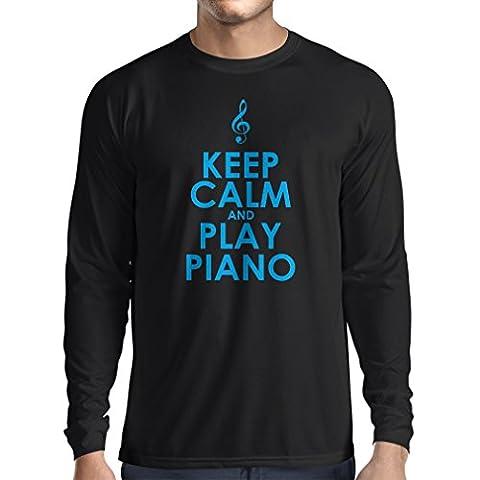 Langarm Herren t shirts Klavier - Musiker zitiert (XX-Large Schwarz