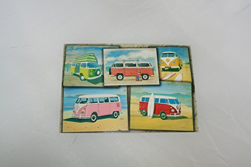 Postcard-VW-Camper-Vans-featuring-5-Vans-ideal-thank-you-card-or-gift-picture-from-design-by-Martin-Wiscombe