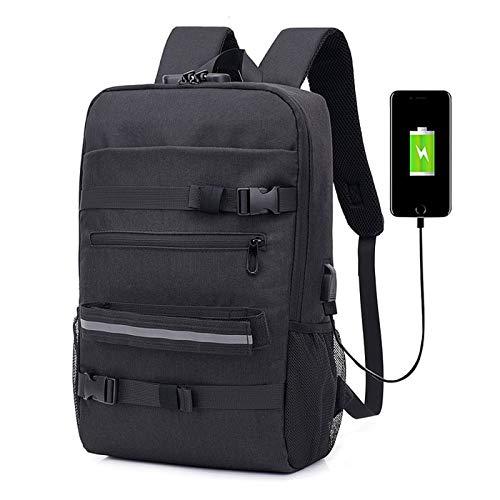 QYYDSB diebstahlsicherung USB Rucksack Multifunktions Laptop Rucksack Für Männer Skateboard Schule Rucksäcke Für Jungen Mädchen Männlichen Reise 47x17x28 cm schwarz
