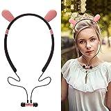 Bibao - Cuffie Bluetooth a LED, a forma di cervo, coniglio e diavolo, vestibilità sicura per sport, palestra, viaggi, 110g, rosa, 168168
