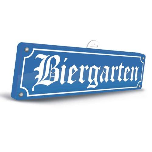 Folat KULTFAKTOR GmbH Oktoberfest Deko-Schild 3D Biergarten Blau-Weiss 13x46 (Kostüm Biergarten)