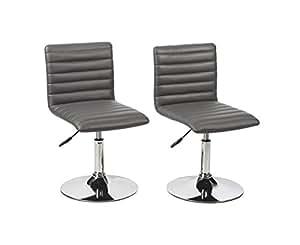 Duhome 0205 Lot de 2 chaises de cuisine réglables en hauteur en cuir synthétique Gris