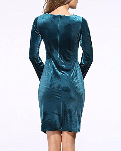 Femme Mini-Robe Slim Solides Manches Longues Vert