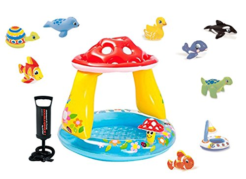 In-tex set piscina baby fungo 57114 + 1 animaletto gonfiabile + pompa 68612
