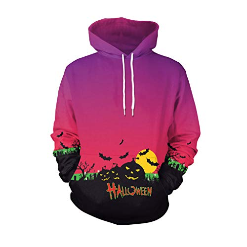 Halloween Hoodie, Scary Print Sport Pullover Mode Sweatshirt Top (Size : M)