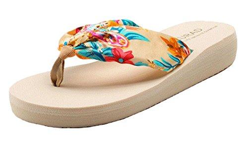 Summer Cool Damen Hawaiian Beach Sandalen Flip Flops Sahne