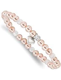 Plata de Ley Corazón Carcasa rosa cuentas y cristal 6pulgadas Pulsera elástica
