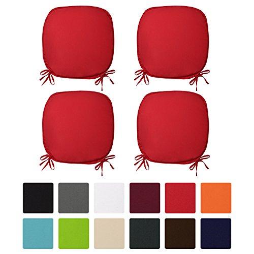 Beautissu® 4er Set Stuhlkissen Lara 38x38x1,5cm Sitzkissen für Stühle für Indoor & Outdoor mit Oeko-Tex Siegel Rot
