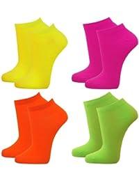 8 Paar Damen Mikrofaser Sneaker Socken Füßling im modischen Neon Style