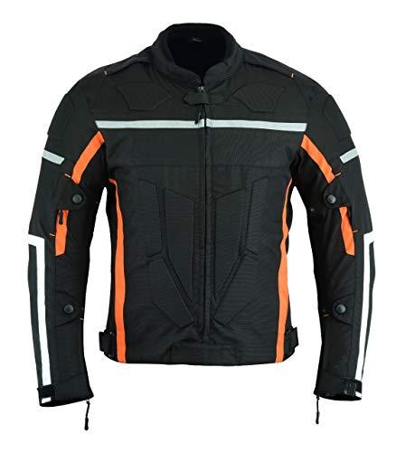 Leatherteknik motocicletta blindata alta protezione impermeabile giacca nero/arancione armour cj-9403