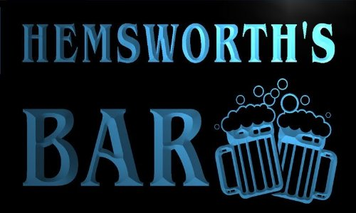 w055284-b HEMSWORTH Name Home Bar Pub Beer Mugs Cheers Neon Light Sign Barlicht Neonlicht Lichtwerbung (Hemsworth B)