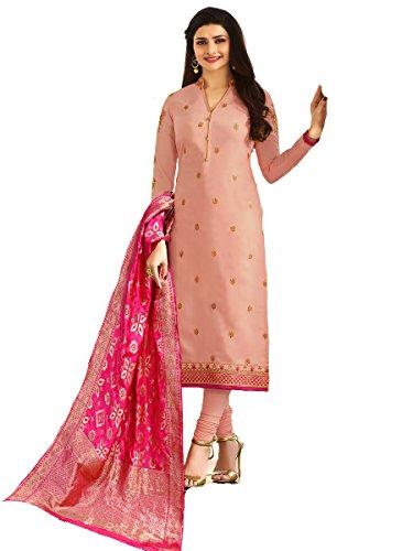 Laxmipati Fashion (Wkart) Peach Georgette Straight Semi-Stitched Salwar Suit Kameez