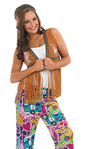 Fun Shack Damen Costume Kostüm, Womens Fringed Hippie Waistcoat, Größe ()