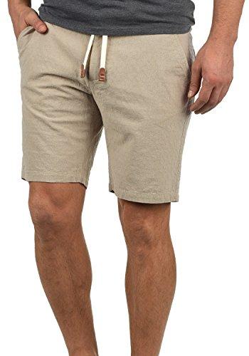 Muster 100% Baumwolle (Blend Serge Herren Chino Shorts Bermuda Kurze Hose Mit Rauten-Muster Und Kordel-Gürtel Aus 100% Baumwolle Regular Fit, Größe:XL, Farbe:Sand Brown (75107))