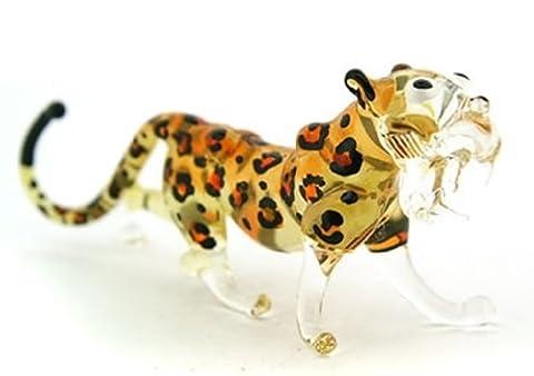 COLLECTIBLE MINIATURE Murano soufflé de main Art GLASS Tiger Cheetah, taille S FIGURINE