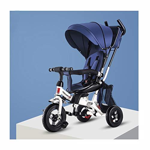 Moolo Kinderwagen Säuglinge Und Kleinkinder Dreirad Fahrrad Falten Drehen Sitz Baby Trolley Kinderwagen (Farbe : Blau) (Falten Kleinkind Fahrrad)