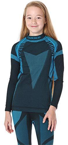 Ladeheid Kinder Mädchen Jungen Funktionsunterwäsche Langarm Shirt Thermoaktiv LASS0007 (Schwarz/Türkis, 146-152)
