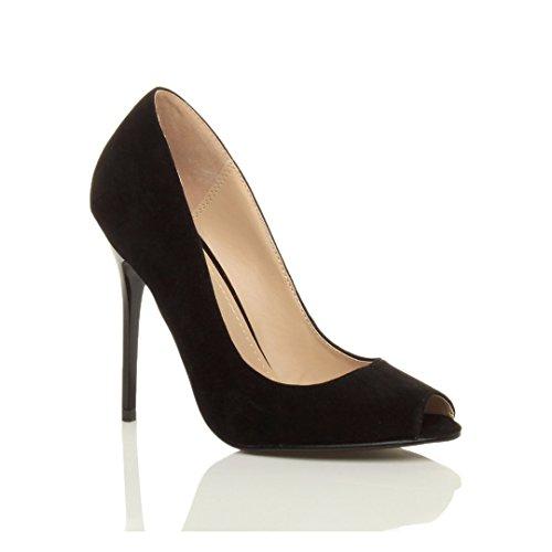 Preta Alto Salto De De Trabalho Grupo Salto Sandálias Camurça Do Toe Tamanho Senhoras Elementar Sapatos Espreitadela 5ExnqZPPI