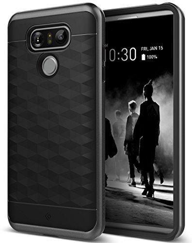Funda LG G6, Caseology [serie Parallax] Fina proteccion de doble capa texturizada Sujecion segura Diseno geometrico [Negro - Black] para el LG G6 (2016)
